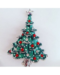 Rhodium Plated Christmas Tree Brooch B6509